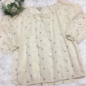 J Crew sheer embroidered peasant style top S